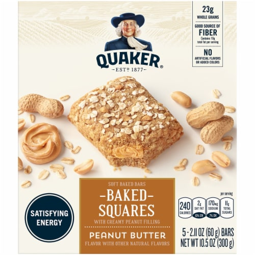 Quaker Baked Squares Peanut Butter Soft Baked Bars Perspective: front