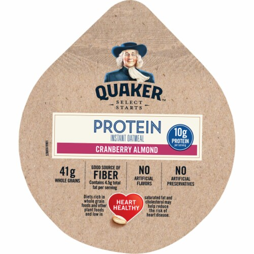 Quaker Cranberry Almond Instant Oatmeal Express Cup, 2. 18 Ounce -- 12 per case. Perspective: front