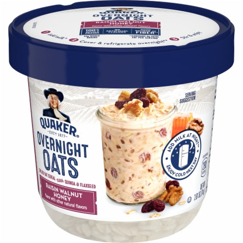 Quaker Overnight Oats Raisin Walnut Honey Chilled Oatmeal Breakfast Cup Perspective: front