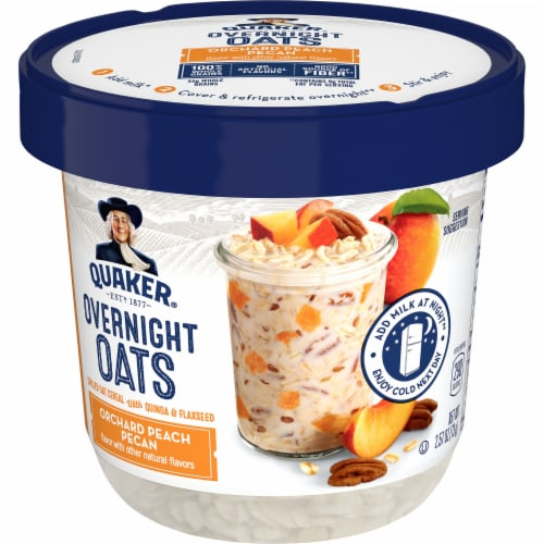 Quaker Overnight Oats Orchard Peach Pecan Chilled Oatmeal Breakfast Cup Perspective: front