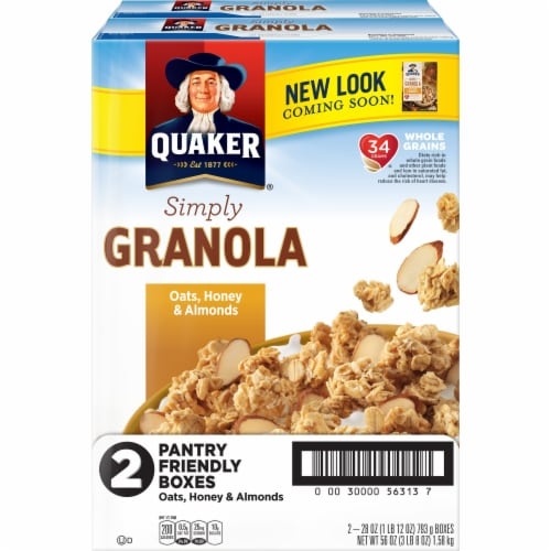 Quaker Simply Granola Oats Honey & Almonds Cereal Perspective: front