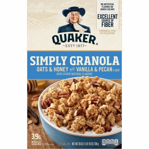 Quaker Simply Granola Oats & Honey With Vanilla & Pecan Perspective: front