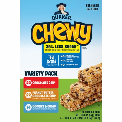 Quaker Chewy Less Sugar Granola Bars Variety Pack Perspective: front