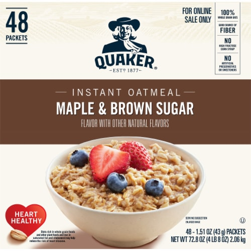 Quaker Instant Maple & Brown Sugar Oatmeal Packets 48 Count Perspective: front