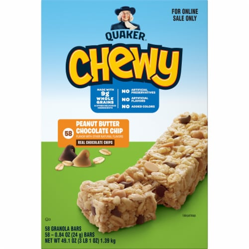 Quaker Chewy Peanut Butter Chocolate Chip Granola Bars Perspective: front
