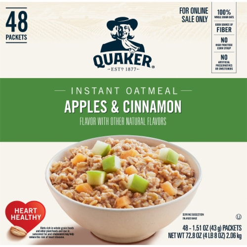 Quaker Apples & Cinnamon Flavored Instant Oatmeal Packets Perspective: front