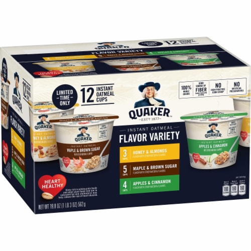 Quaker Instant Oatmeal Cups Variety Pack 12 Count Perspective: front