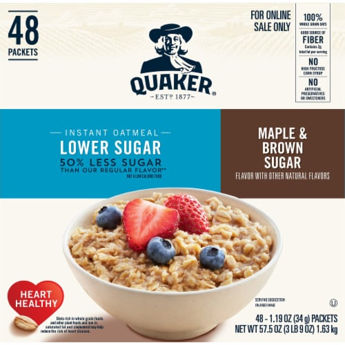 Quaker Lower Sugar Maple & Brown Sugar Instant Oatmeal Packets Perspective: front