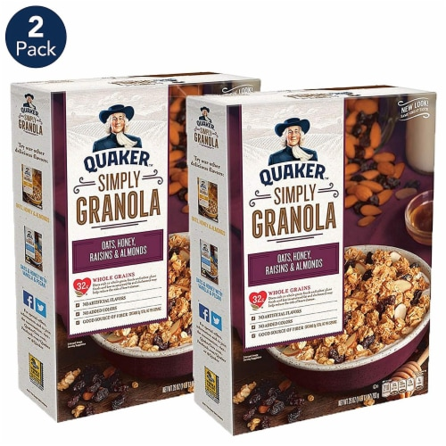 Quaker Simply Granola Oats Honey Raisins & Almonds Cereal 2 Count Perspective: front