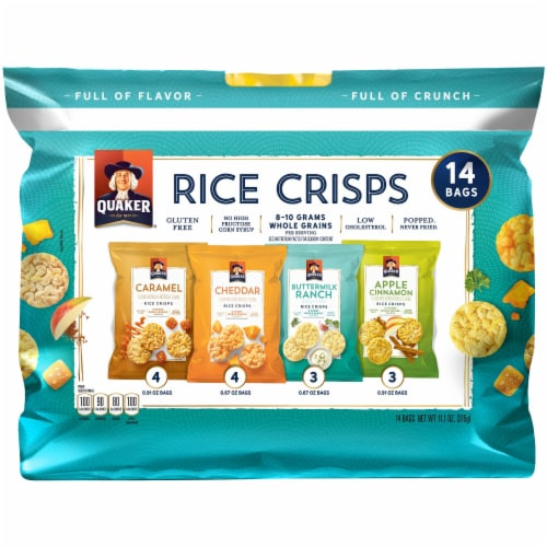 Quaker Rice Crisps Variety Pack Gluten Free Snacks Perspective: front