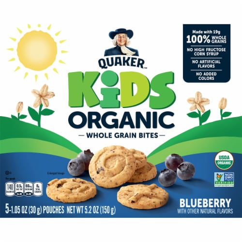 Quaker Kids Organic Whole Grain Blueberry Bites Perspective: front