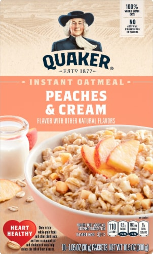 Quaker Peaches and Cream Instant Oatmeal Breakfast Perspective: front