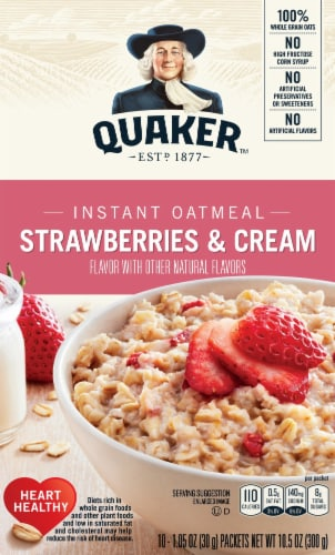 Quaker Strawberry and Cream Instant Oatmeal Breakfast 10 Count Perspective: front