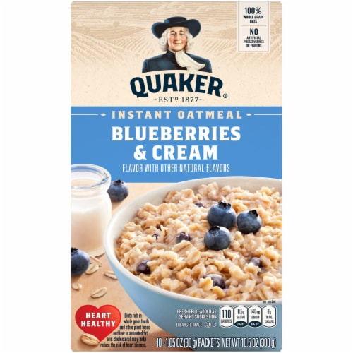 Quaker Blueberry and Cream Instant Oatmeal Packets Perspective: front
