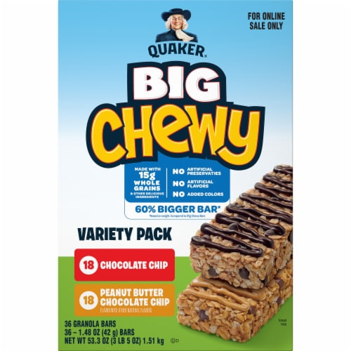 Quaker Big Chewy Chocolate Chip & Peanut Butter Granola Bars Variety Pack Perspective: front