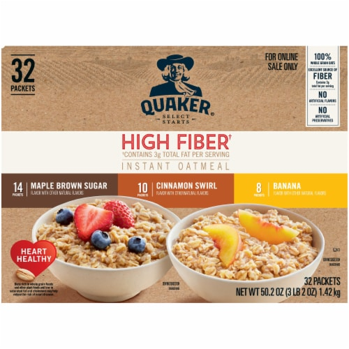 Quaker Select Starts High Fiber Instant Oatmeal Variety Pack 32 Count Perspective: front