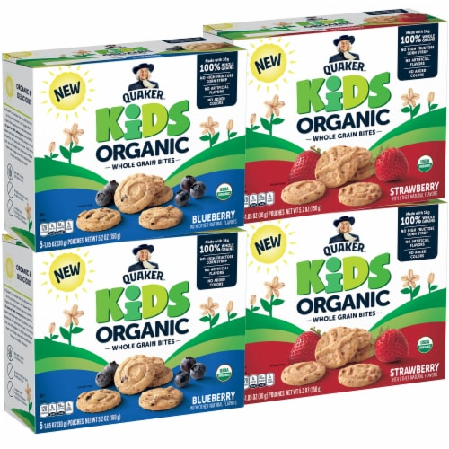Quaker Kids Organic Strawberry & Blueberry Flavored Whole Grain Bites Perspective: front