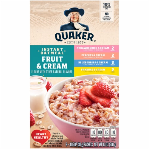Quaker Fruit and Cream Instant Oatmeal Breakfast Variety Pack Perspective: front