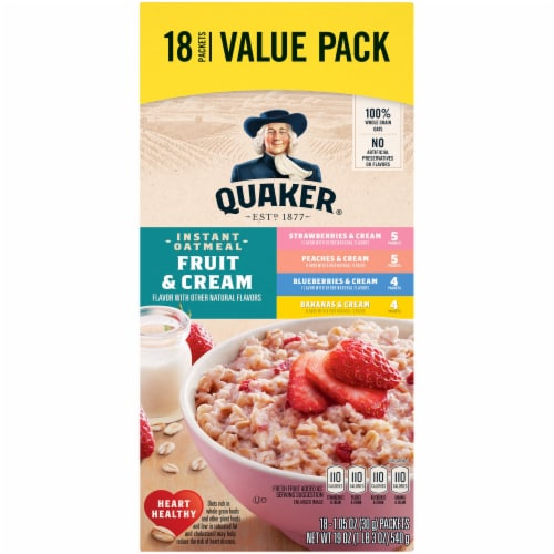 Quaker Fruit and Cream Instant Oatmeal Value Variety Pack Perspective: front