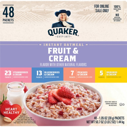 Quaker Fruit & Cream Instant Oatmeal Variety Pack 48 Count Perspective: front