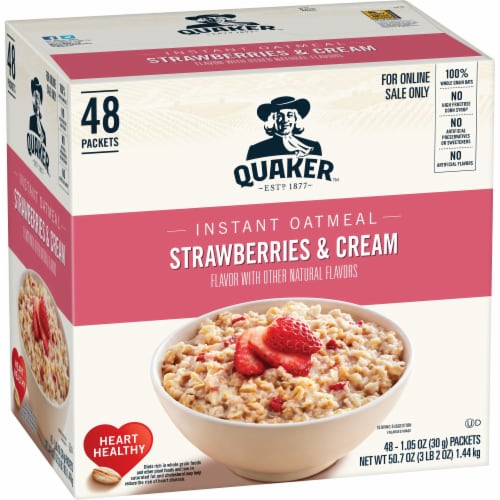 Quaker Strawberries & Cream Flavor Instant Oatmeal Perspective: front