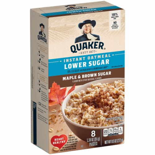 Quaker Lower Sugar Maple & Brown Sugar Instant Oatmeal Perspective: front
