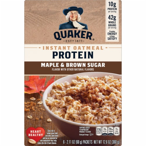 Quaker Protein Maple & Brown Sugar Instant Oatmeal Perspective: front
