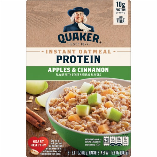 Quaker Protein Apples & Cinnamon Instant Oatmeal Perspective: front