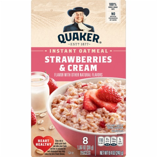 Quaker Strawberries & Cream Instant Oatmeal Perspective: front