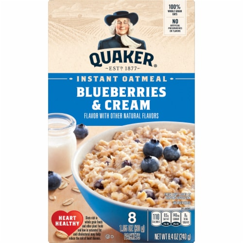 Quaker Blueberries & Cream Instant Oatmeal Perspective: front