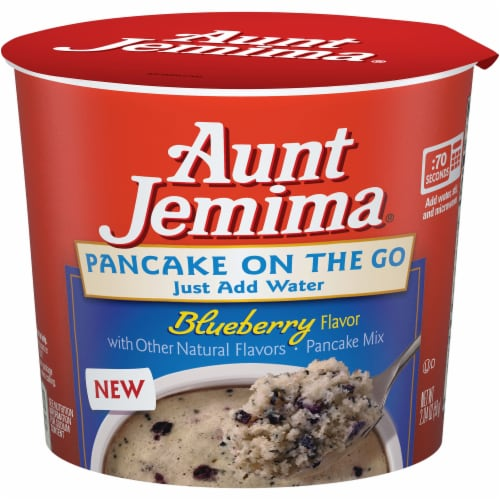 Aunt Jemima Pancake on the Go Blueberry Pancake Mix Cup Perspective: front