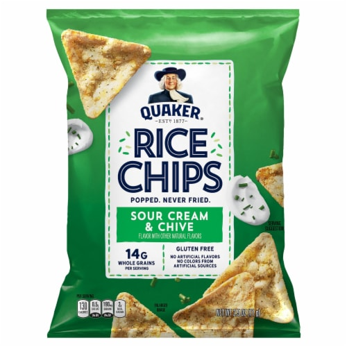 Quaker Sour Cream & Chives Rice Chips Perspective: front