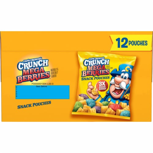 Cap'N Crunch's Crunch Mega Berries Sweetened Corn & Oat Snack Pouches Perspective: front