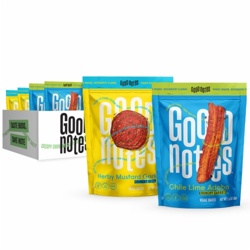 Good Notes™ Chile Lime Adobo Carrots and Herby Mustard Garlic Beets Veggie Snacks Variety Pack Perspective: front