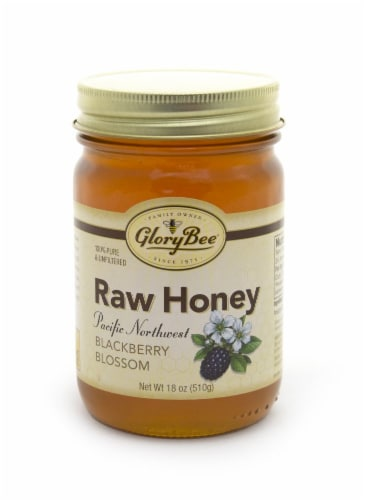 GloryBee Pacific Northwest Blackberry Blossom Raw Honey Perspective: front
