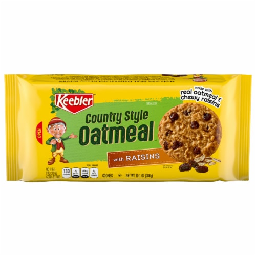 Keebler Country Style Oatmeal Cookies with Raisins Perspective: front