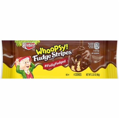 Keebler Whoopsy Fudge Stripes Cookies 2.32 oz. Bagged - Case Of: 12; Perspective: front