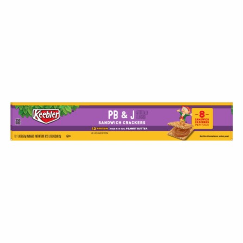 Keebler Kings Blend Toasted Peanut Butter and Jelly Sandwich Cracker, 1.8 Ounce -- 144  case. Perspective: front