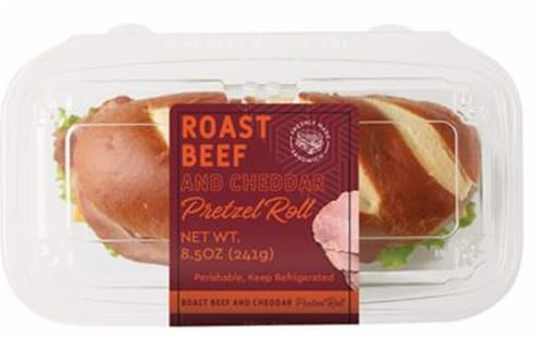 Taylor Farms Grab & Go Roast Beef & Cheddar Pretzel Roll Perspective: front