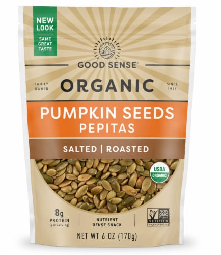 Good Sense Organic Roasted & Salted Pumpkin Seeds (Pepitas) Perspective: front