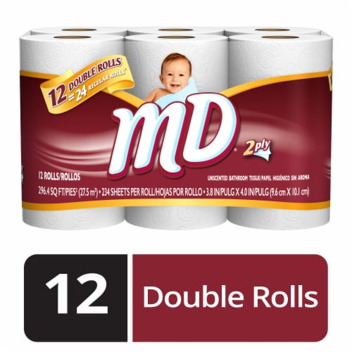 MD 2 Ply Unscented Bathroom Tissue 12 Count Perspective: front