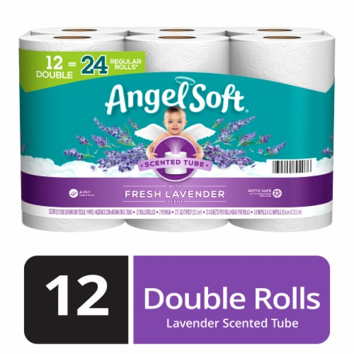 Angel Soft Fresh Lavender Scent Double Roll Bath Tissue Perspective: front