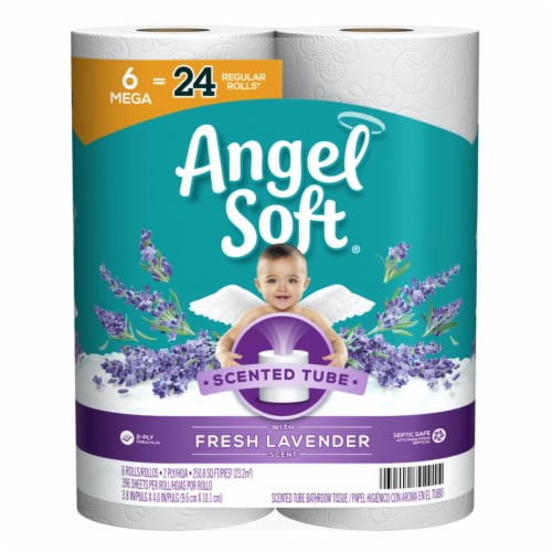 Angel Soft 6027037 6 Roll 396 Sheet Toilet Paper, Pack of 6 - Case of 4 Perspective: front