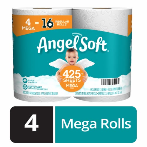Angel Soft Mega Rolls Toilet Paper Perspective: front
