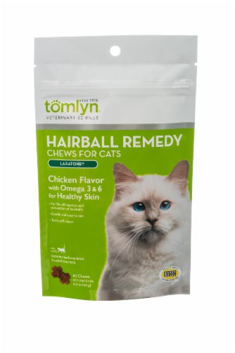 Tomlyn Laxatone Hairball Remedy Chicken Flavor with Omega 3 & 6 Chews for Cats Perspective: front