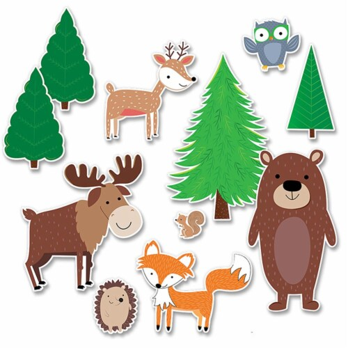 Jumbo Woodland Friends Bulletin Board Set, 11 Pieces Perspective: front