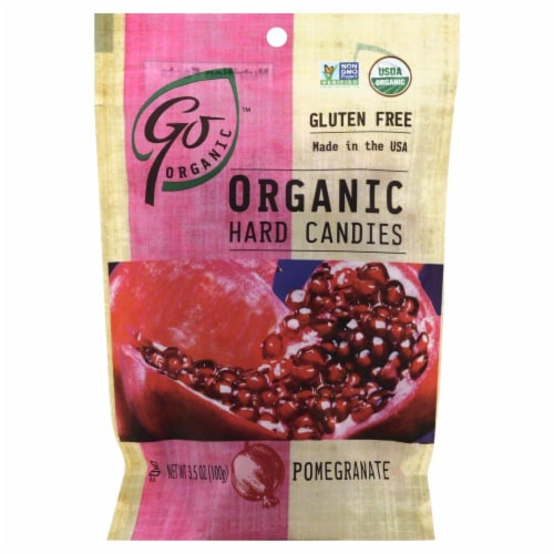 Go Naturally Organic Pomegranate Hard Candies Perspective: front