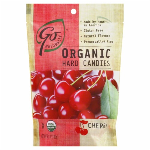 Go Naturally Organic Cherry Candies Perspective: front