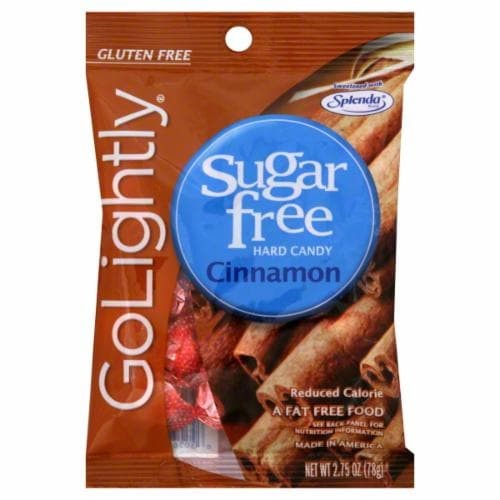 Go Lightly Sugar Free Cinnamon Hard Candy Perspective: front