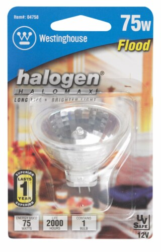 Westinghouse 75 watts MR16 Floodlight Halogen Bulb 780 lumens White 1 pk - Case Of: 1; Each Perspective: front